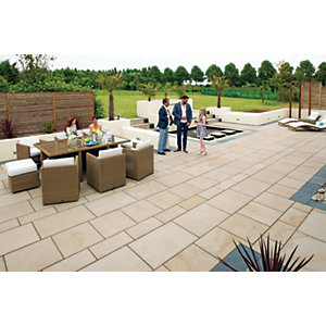 Marshalls Fairstone Sawn Versuro Smooth Caramel Cream 1000 x 750 x 30mm Paving Slab - Pack of 14