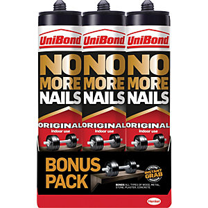 UniBond No More Nails Original Cartridge - 300ml Pack of 3