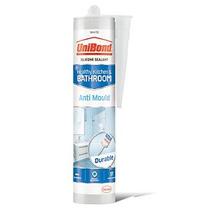 UniBond Anti-Mould Kitchen and Bathroom Silicone Sealant - White 300ml