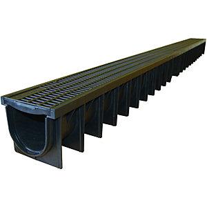 Clark-Drain Channel & Black Driveway Drainage Grate - 1m