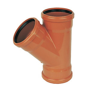 FloPlast D211 Underground Drainage 45 Deg Equal Junction Tee - Terracotta 110mm