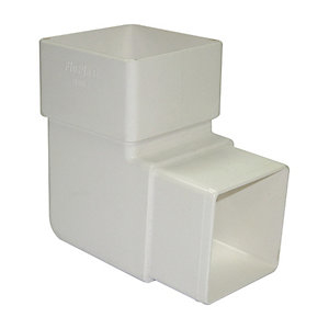 FloPlast RBS1W Square Line Downpipe Offset Bend - White 92.5 Deg x 65mm