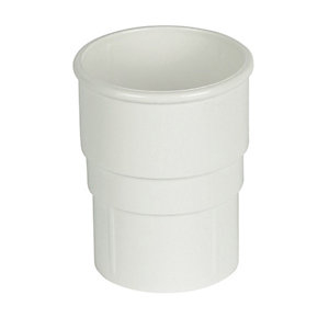 FloPlast RS1W Round Line Downpipe Pipe Socket - White 68mm