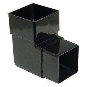FloPlast RBS1B Square Downpipe Offset Bend - Black 92.5 Deg x 65mm