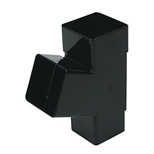 FloPlast RYS1B Square Downpipe 67.5 Deg Branch - Black 65mm