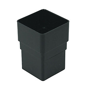 FloPlast RSS1B Square Line Downpipe Pipe Socket - Black 65mm