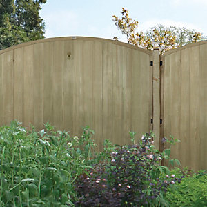 Forest Garden Pressure Treated Vertical Domed Top Tongue & Groove Fence Panel - 6 x 5ft Pack of 3