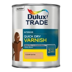 Dulux Trade Clear Satin Wood varnish 1L Tin