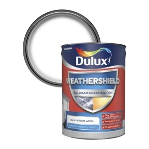 Dulux Weathershield Pure brilliant white Textured Matt Masonry paint 5L
