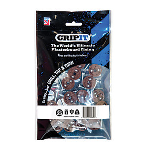 GripIt 20mm Plasterboard Fixing - M6 x 30mm Pack of 25