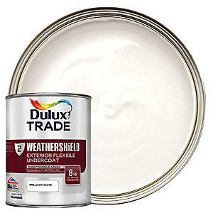 Dulux Trade Weathershield Exterior Flexible Undercoat Paint - Brilliant White 1L