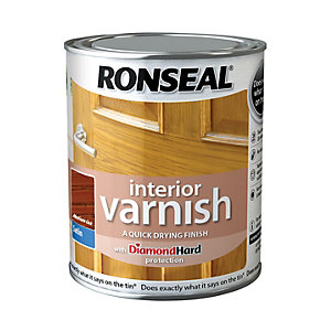 Ronseal Interior Varnish - Satin Medium Oak 750ml