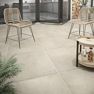 Wickes Al Fresco Sand Indoor & Outdoor Porcelain Floor Tile 610 x 610mm