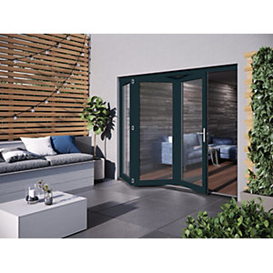 Grey Hardwood Glazed Patio door set  (H)2104mm (W)2404mm