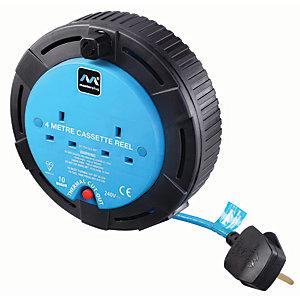 Masterplug 2 Socket Small Cassette Reel - Blue 4m 10A