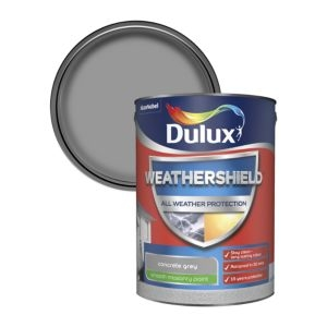 Dulux Weathershield Concrete grey Smooth Matt Masonry paint 5L