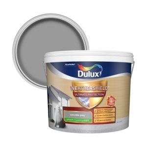 Dulux Weathershield ultimate protection Concrete grey Smooth Matt Masonry paint 10L