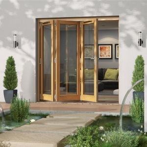 Golden Oak Timber Glazed Folding Patio door  (H)2094mm (W)2094mm