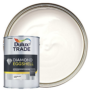 Dulux Trade Diamond Eggshell Emulsion Paint - Pure Brilliant White 5L