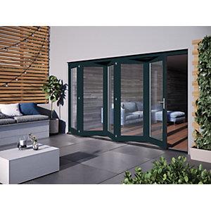 Jeld-Wen Bedgbury Finished Solid Hardwood Patio Bifold Door Set Grey - 2094 x 3594 mm